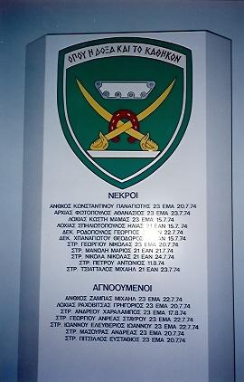 15. Μνημείο Πεσόντων και Αγνοουμένων Αξιωματικών και Οπλιτών Τεθωρακισμένων